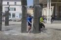 bevor wir weitere Interviews an der Touristeninfo in Füssen haben – ein geniales Wasserspiel steht nebendran.