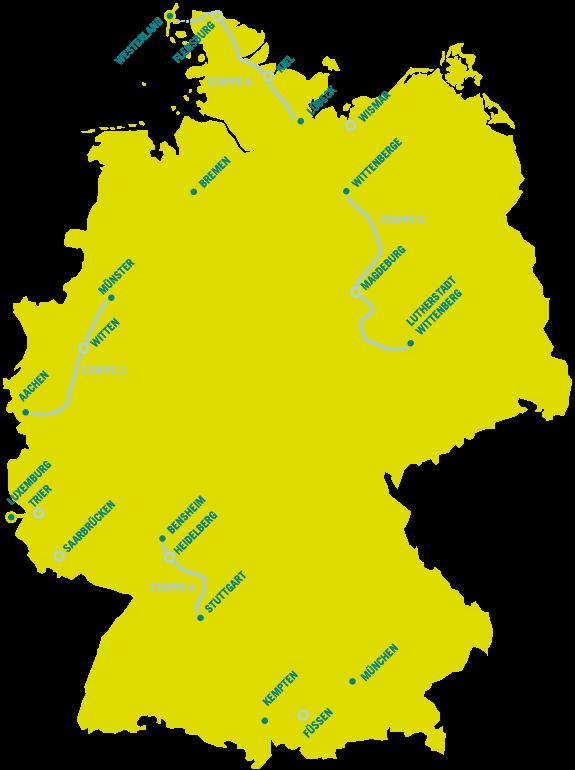 Karte der acht 4-tägigen Etappen