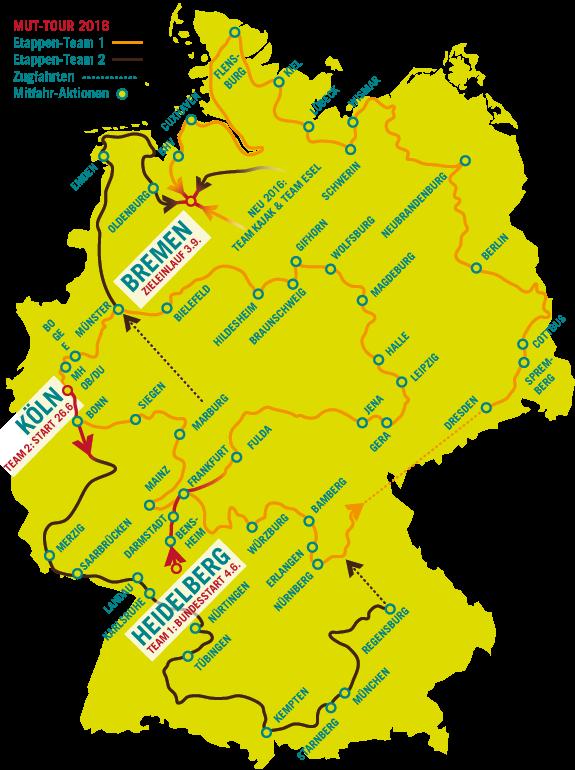 Karte der Mitmach-Aktionen sowie Route MUT-TOUR 2014