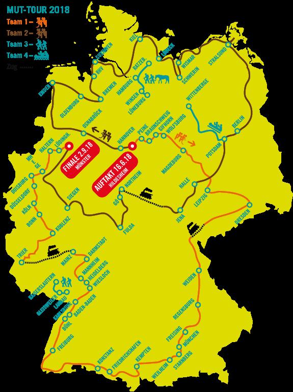 Karte der MUT-TOUR 2018
