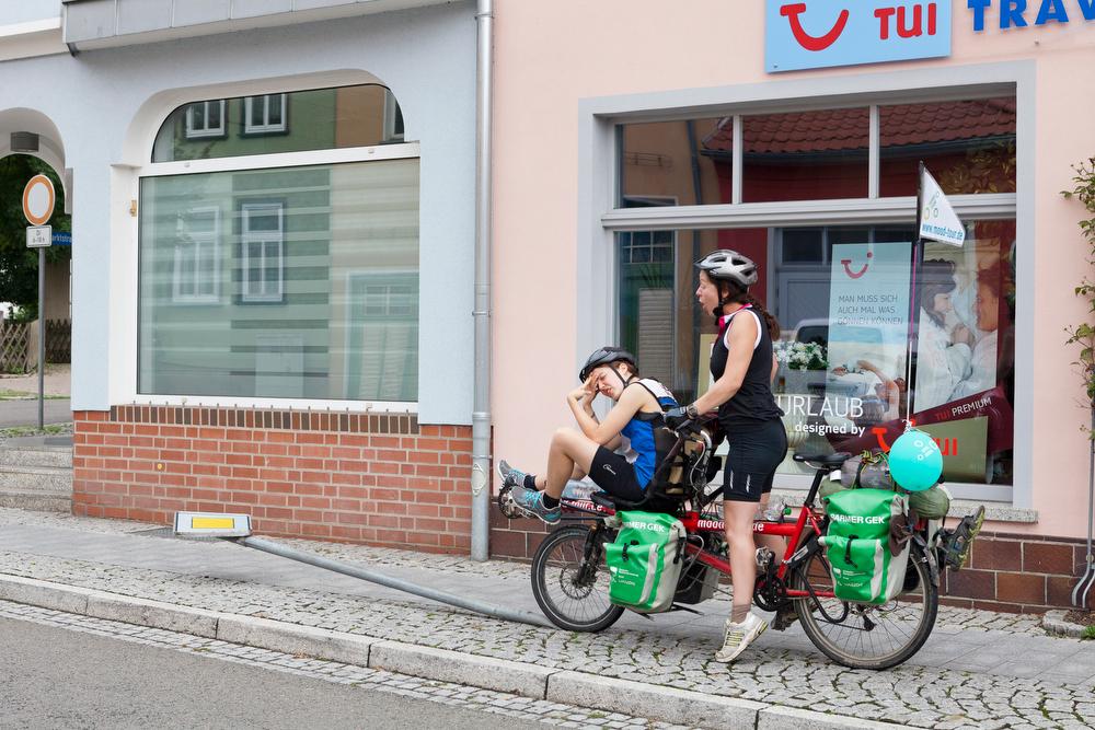 Zwei Tandemfahrerinnen in Aktion