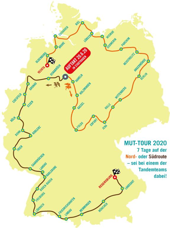 """Route der MUT-TOUR 2020, wie wir sie sicher nicht in ursprünglich angedachten zehn Tandemetappen fahren können werden. Wir hoffen, dass wir ab Juli 2 bis 5 Etappen noch """"real"""" fahren können!"""