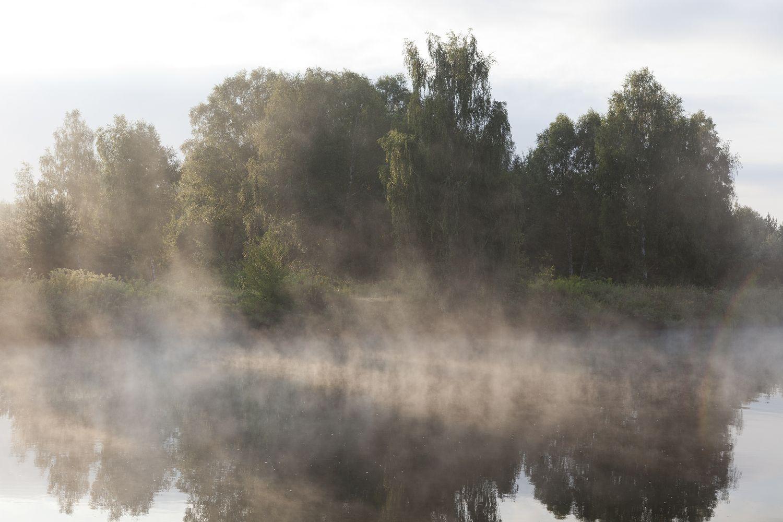 Nebel über einem See, Sinnbild für eingeschränkte Sicht zu Zeiten von Corona