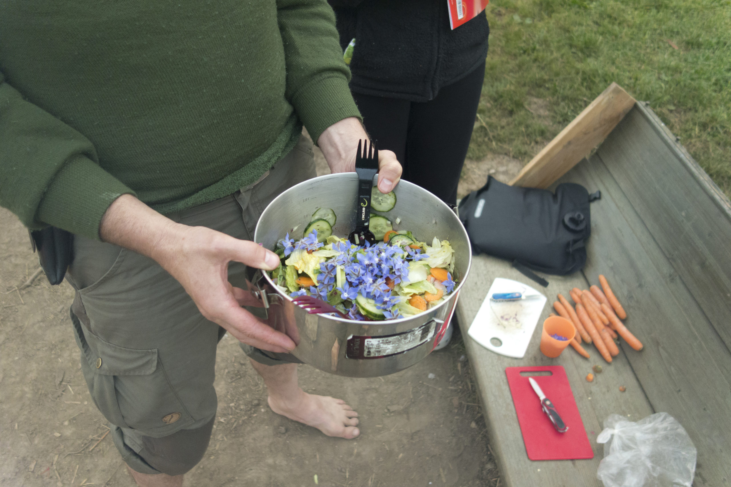 Tandem-Team Etappe 5: Boretschblüten im Salat. Toll, wenn man mindestens eine kräuterkundige Person dabei hat!