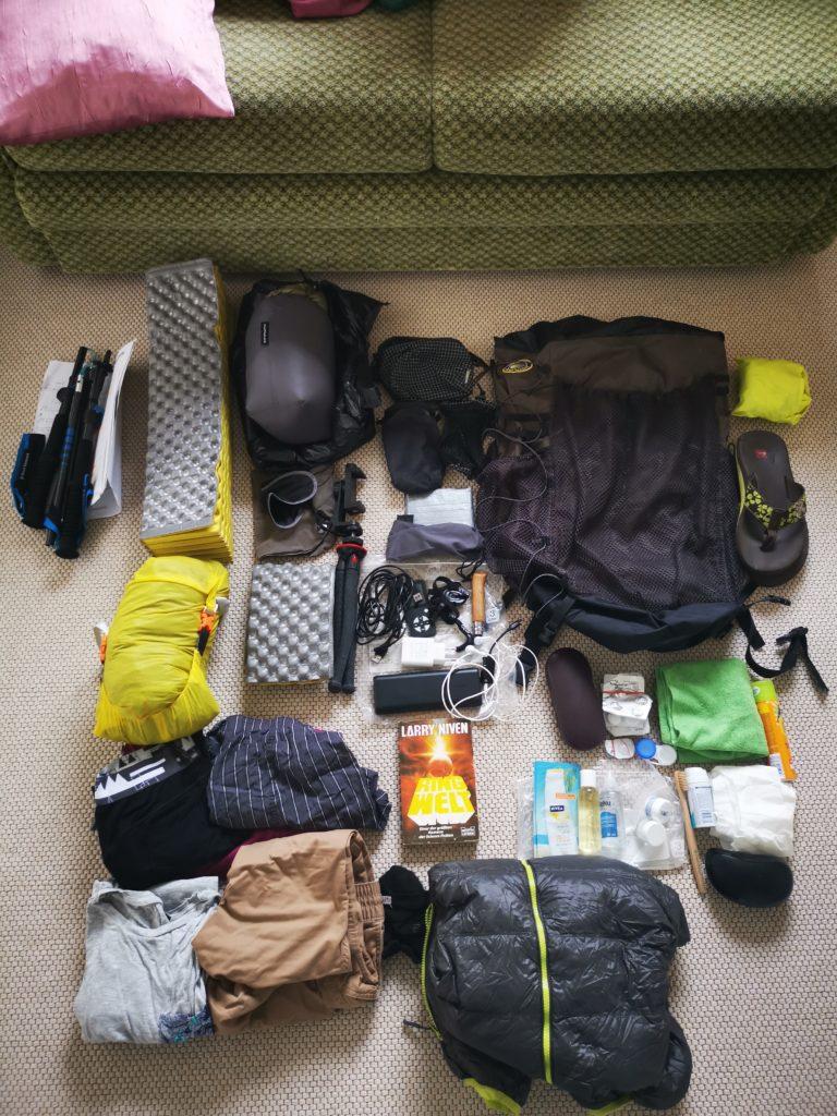 Mein Reisegepäck auf das Mindeste reduziert