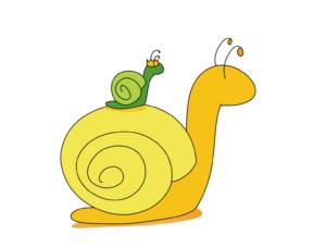 kleine Schnecke sitzt auf einer großen Schnecke, Symbolbild für Teamwork
